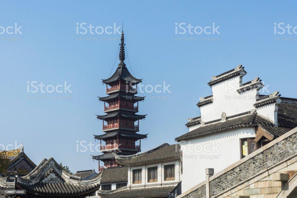 Old town in China's zhejiang province. stock photo