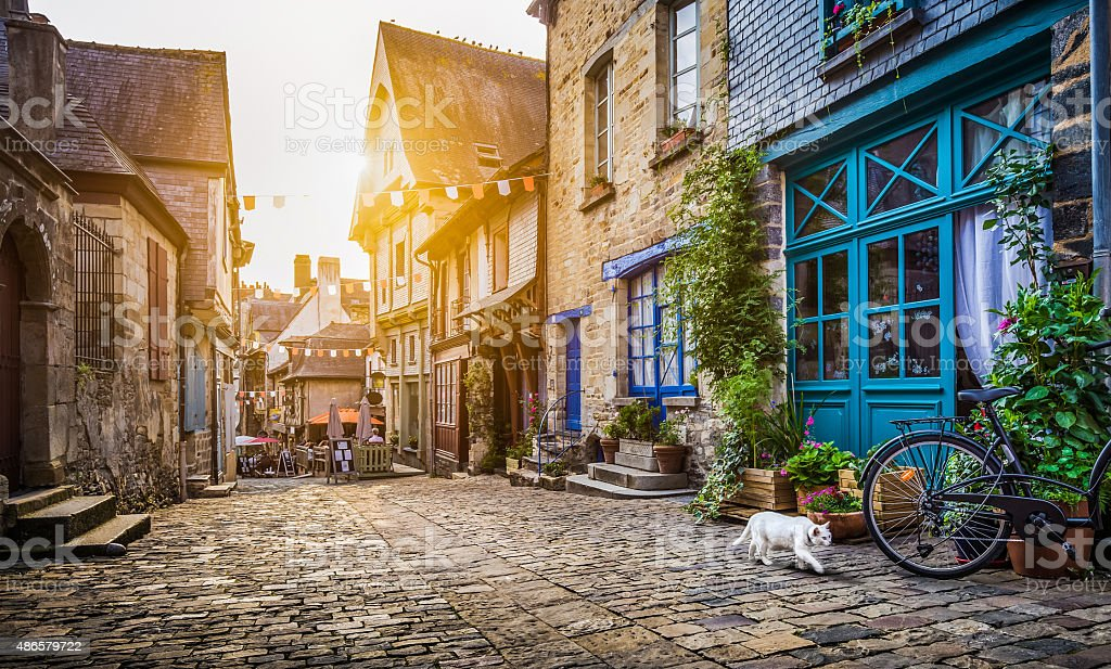 Old town in Europe at sunset with retro vintage filter stock photo