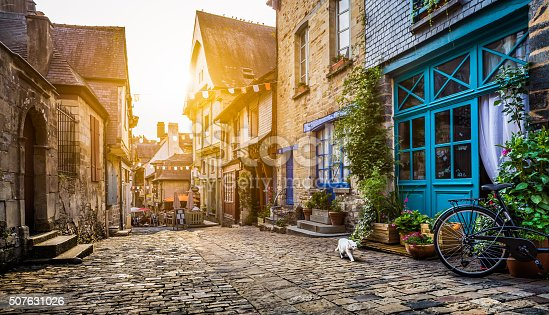 istock Old town in Europe at sunset with retro vintage filter 507631026