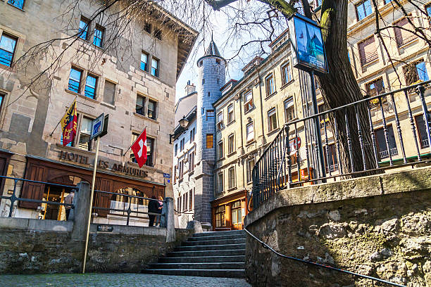 Old Town in Geneva City, Switzerland stock photo