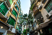 Scenic street in the old town in Macau (Macao) near Ruins of St Paul's in Macau (Macao), China.