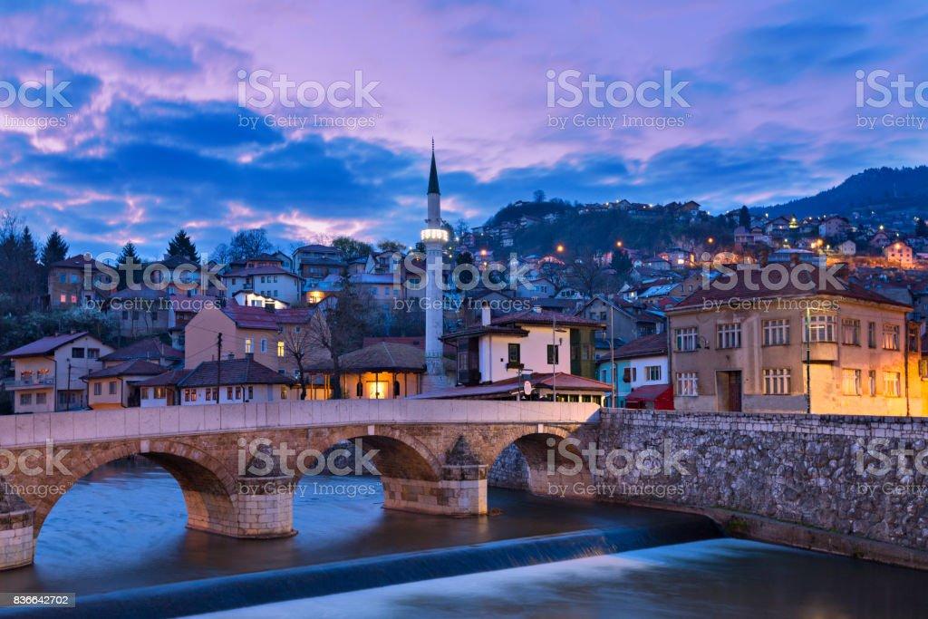 Eski şehir Saraybosna, Bosna Hersek için. stok fotoğrafı