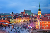 Old Town of Warsaw, capital city of Poland, illuminated at evening during Christmas time.