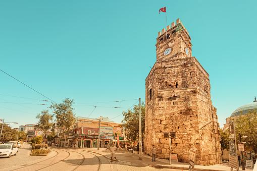 03 September 2020, Antalya, Turkey: Old town Kaleici panoramic view with Clock Tower. Antalya tourist resort