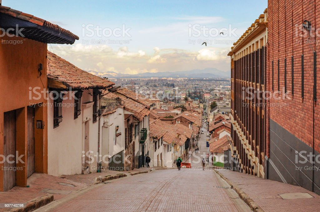 Centro histórico La Candelaria en Bogotá en Colombia - foto de stock