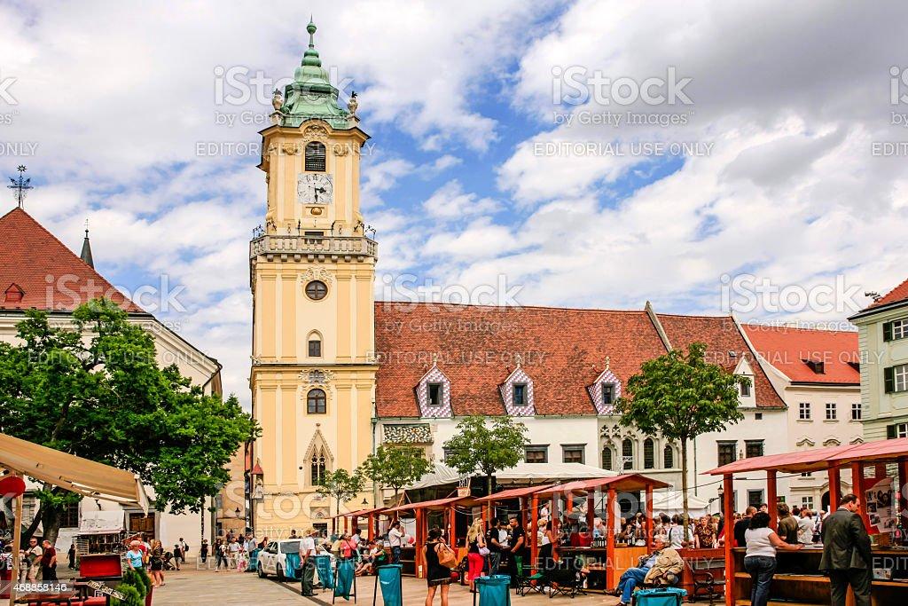 Old Town Main Square in Bratislava stock photo