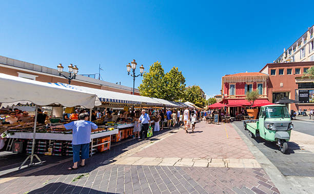 Old Town Market in Nice, France stock photo