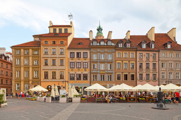 Old Town Market Square in Warsaw stock photo