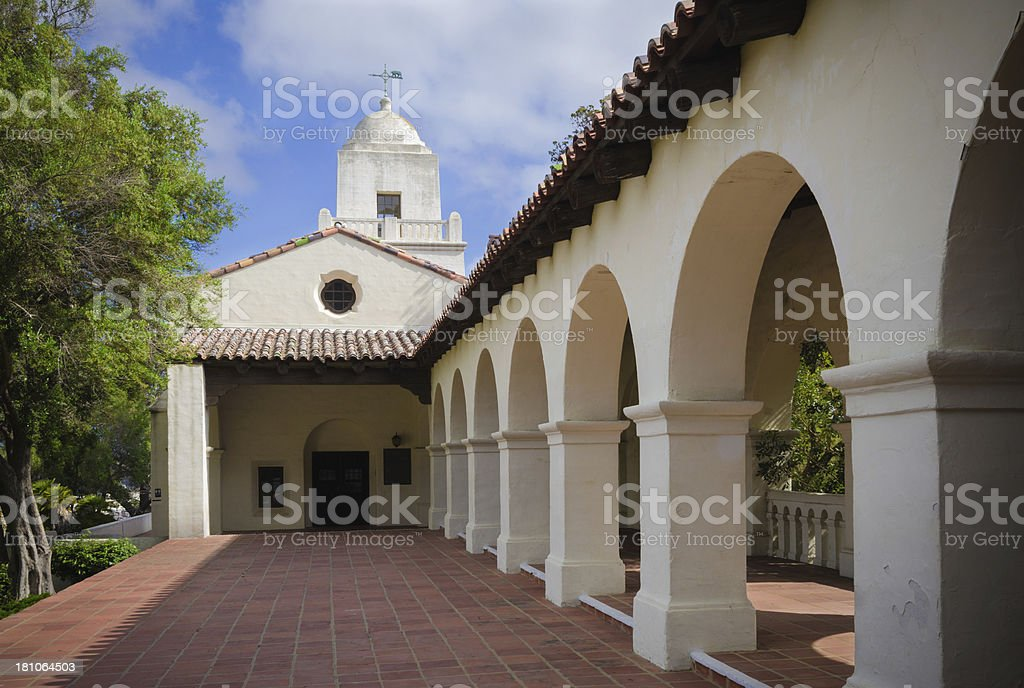 Old Town Mission at Presidio Park in San Diego, CA stock photo
