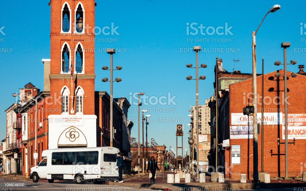 Old Town neighborhood of Baltimore, Maryland stock photo