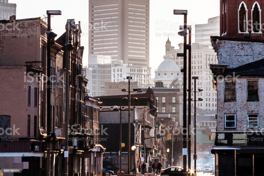 Old Town neighborhood of Baltimore, Maryland. stock photo