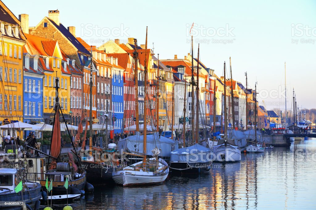 Old Town Nyhavn at Sunset stock photo
