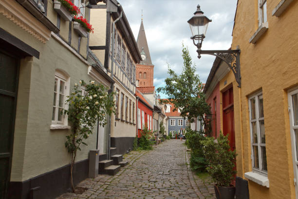 Old town of Aalborg stock photo