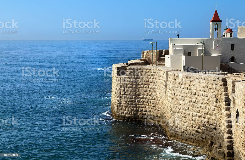 Old Town of Acco by the Sea stock photo