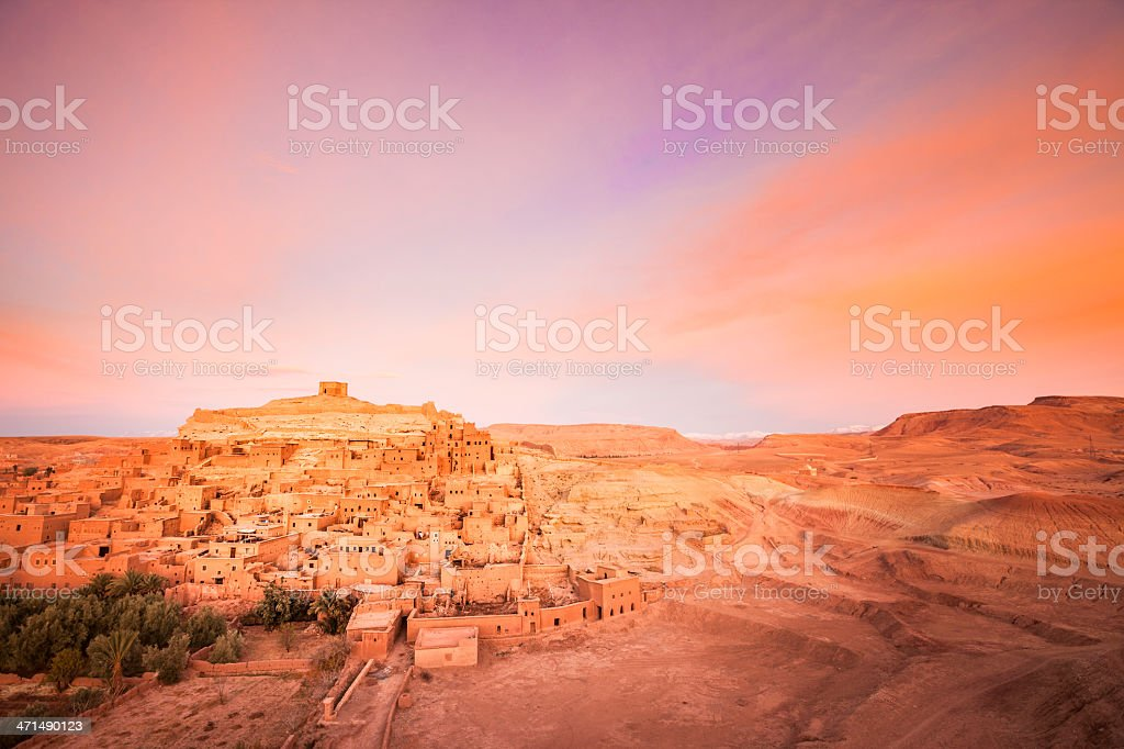 Old Town of Ait Ben-Haddou at sunrise, Morocco royalty-free stock photo