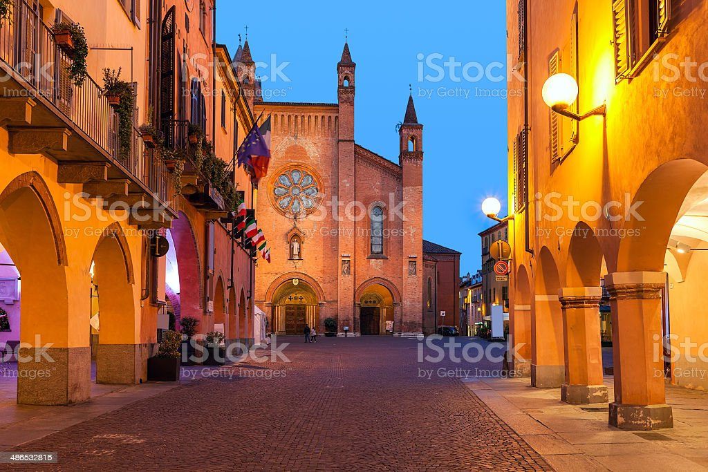 Old town of Alba in evening. stock photo
