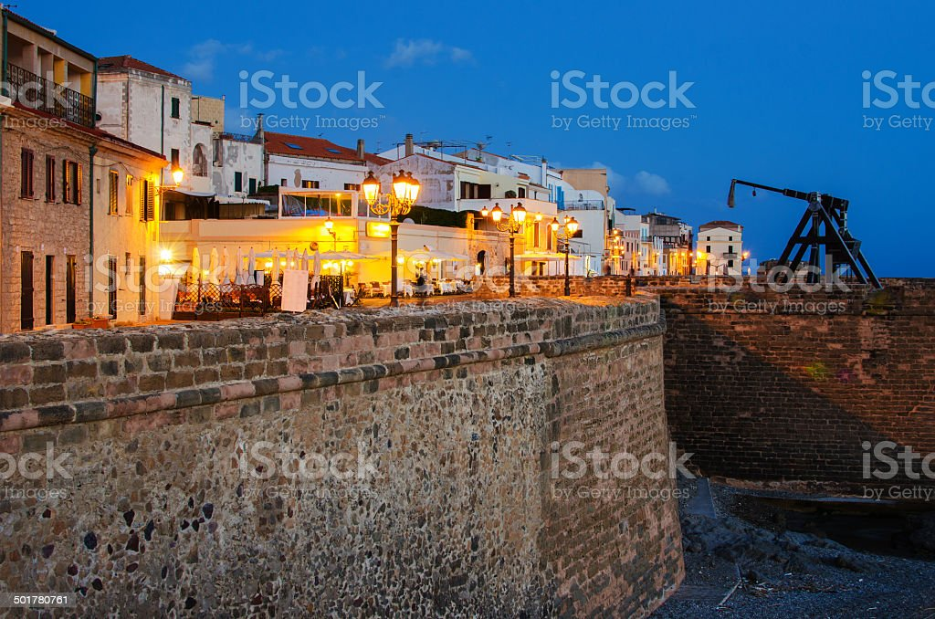 Old Town of Alghero, Sardinia Island, Italy stock photo