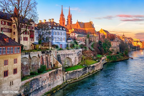 istock Old town of Basel with Munster cathedral, Switzerland 639775296