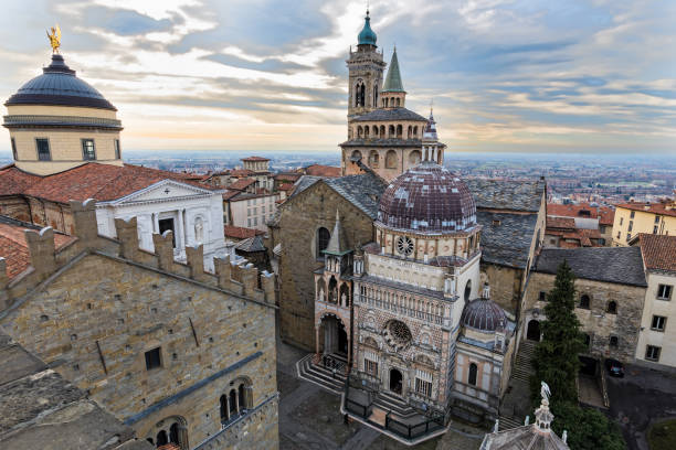 Old town of Bergamo, Italy stock photo