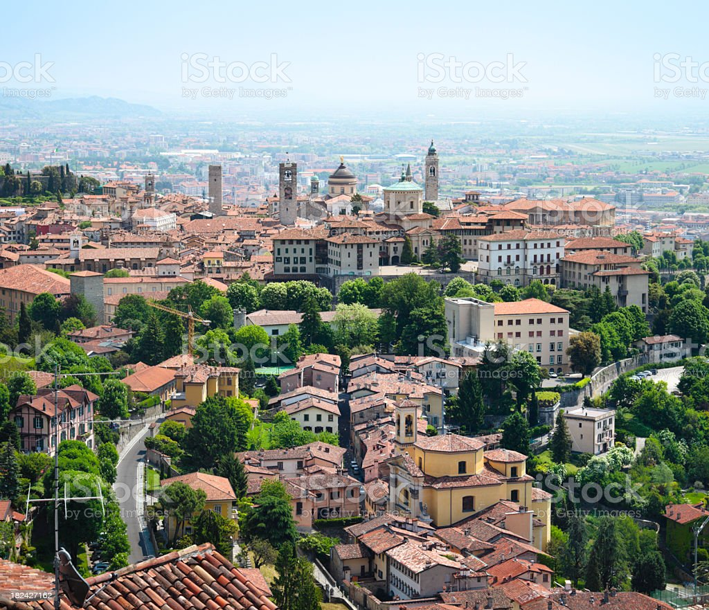Old town of Bergamo stock photo