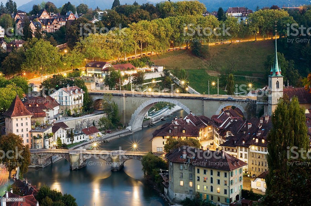 Old town of Bern with Aare River stock photo