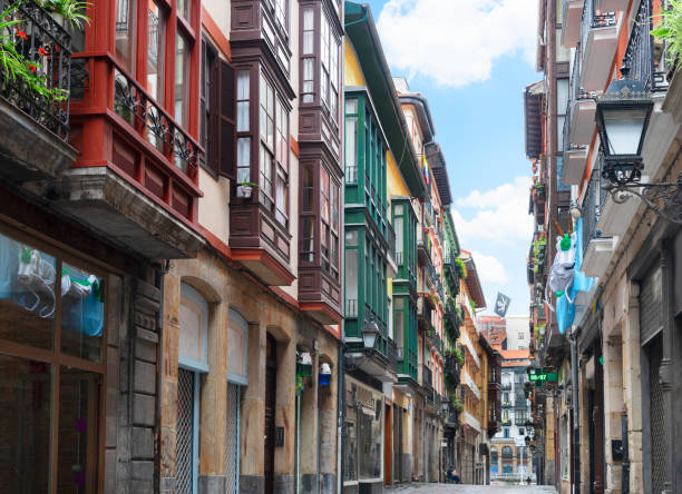 old town of Bilbao, Spain stock photo