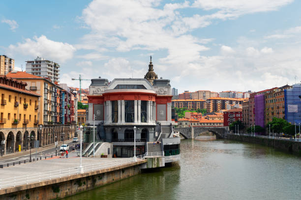 old town of Bilbao, Spain view of old town of Bilbao with river Nervion, Spain riverbank stock pictures, royalty-free photos & images