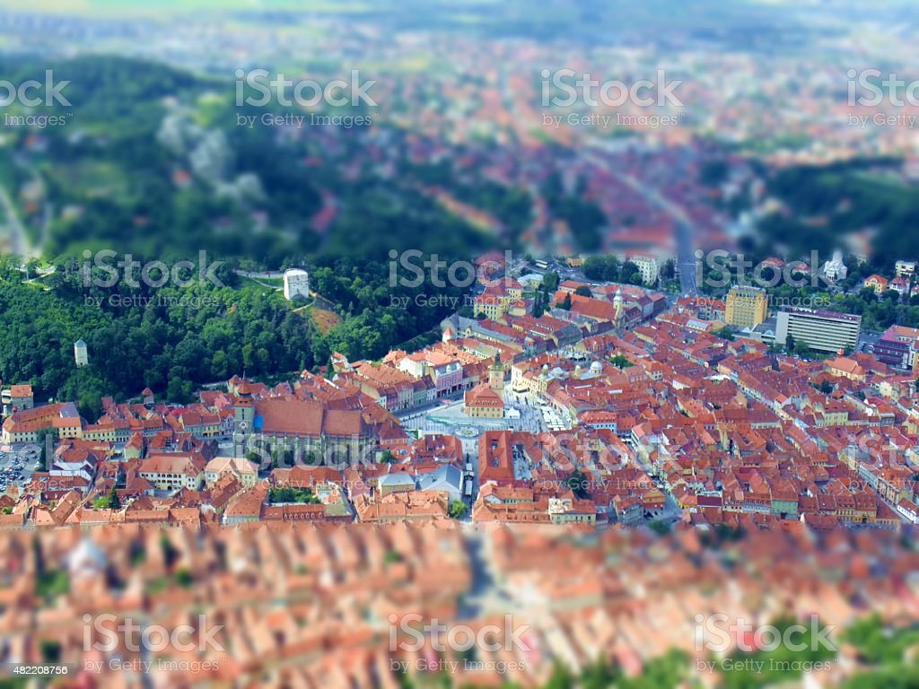 Old Town of Brasov, aerial view with tilt shift effect stock photo