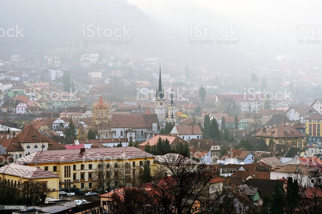 Old town of Brasov in a winter morning stock photo