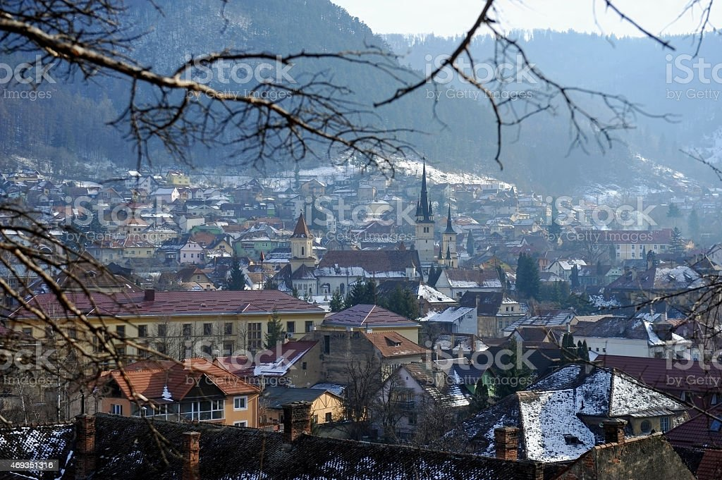 Old town of Brasov in winter stock photo