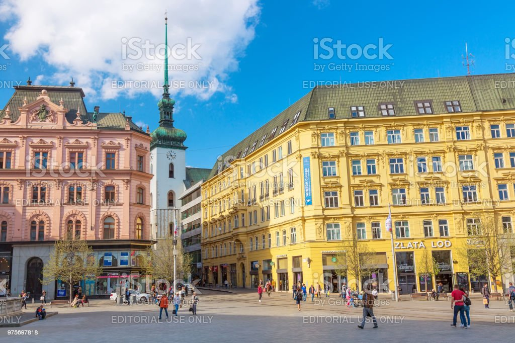 Old town of Brno Freedom Square in spring. Capital of Moravia Region, Czech Republic. stock photo