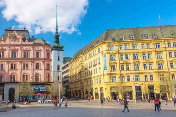 Old town of Brno Freedom Square in spring. Capital of Moravia Region, Czech Republic. Brno, Czech Republic - April, 2018: Old town of Brno Freedom Square in spring. Capital of Moravia Region, Czech Republic brno stock pictures, royalty-free photos & images