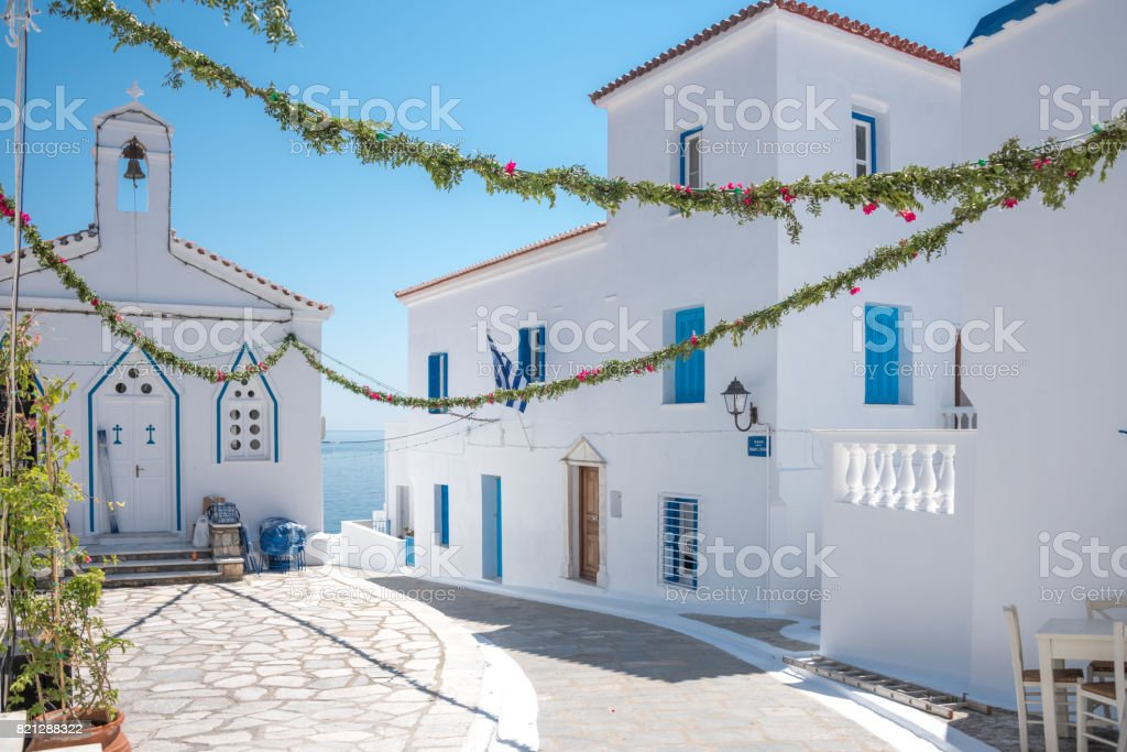 Old Town of Chora Andros Island Greece stock photo