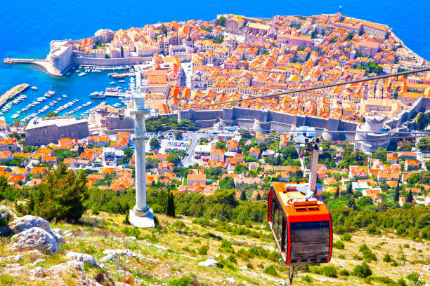Old town of Dubrovnik from hill stock photo