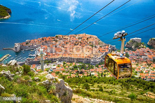 istock Old town of Dubrovnik with cable car ascending Srd mountain, Dalmatia, Croatia 1006266194