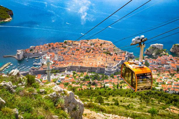 Altstadt von Dubrovnik mit Seilbahn aufsteigender Berg Srd, Dalmatien, Kroatien – Foto
