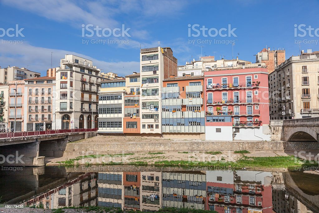 Old town of Girona, Spain stock photo