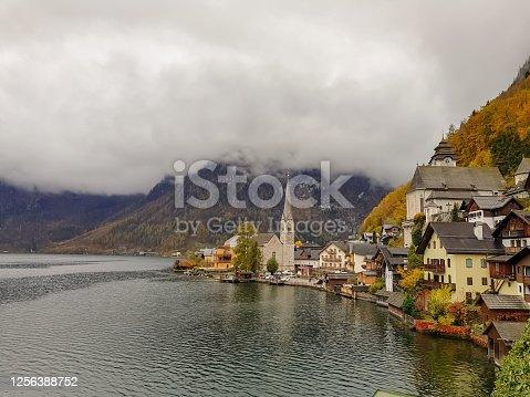 istock Old town of Hallstat Austria 1256388752