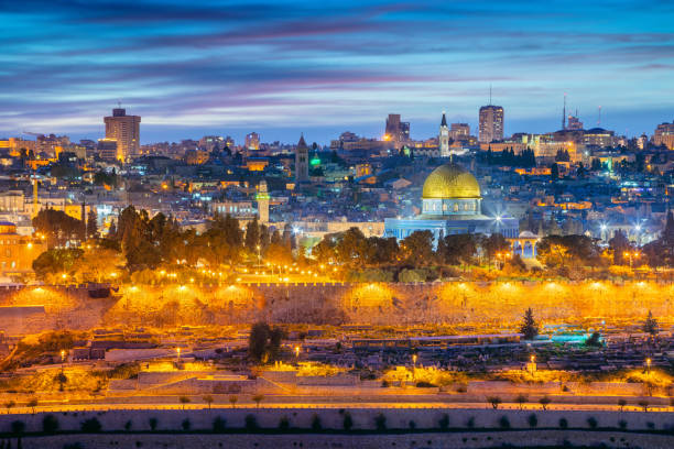 Old town of Jerusalem. Cityscape image of Jerusalem, Israel with Dome of the Rock at sunset. jerusalem old city stock pictures, royalty-free photos & images