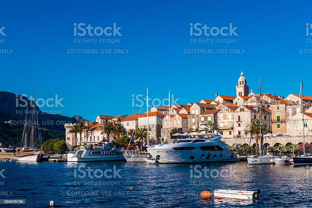 Old town of Korcula stock photo