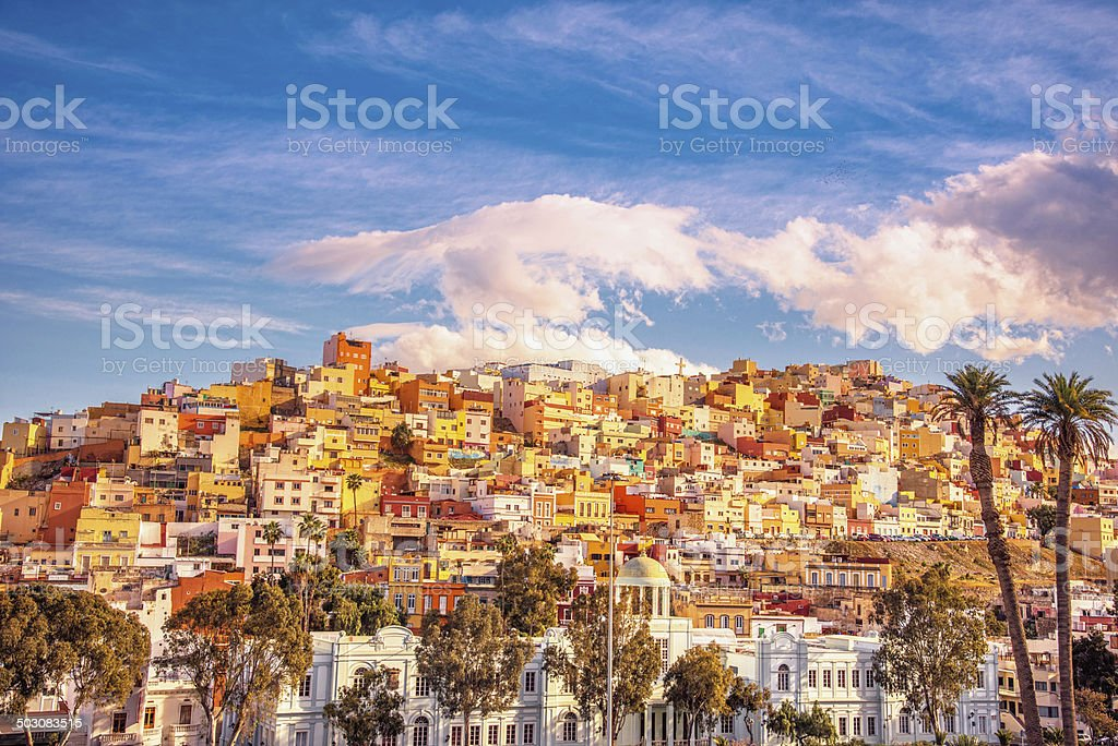 Old town of Las Palmas de Gran Canaria at dusk stock photo