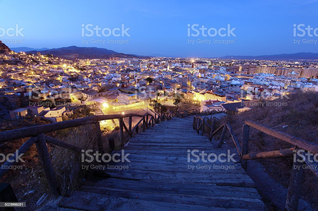 Old town of Lorca at night, Spain stock photo