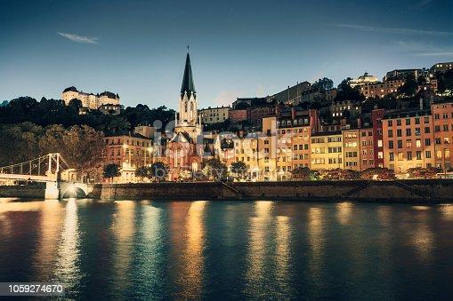 Old town of Lyon at dusk (Lyon, France)