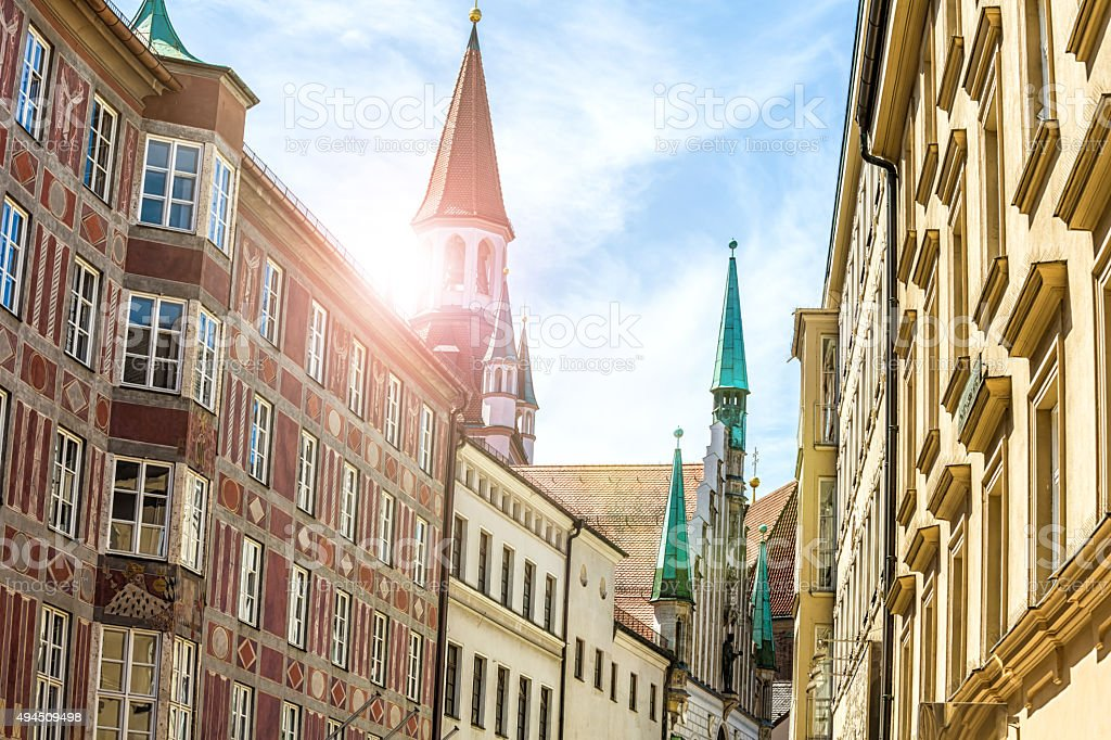 Old town of Munich with sunlight stock photo