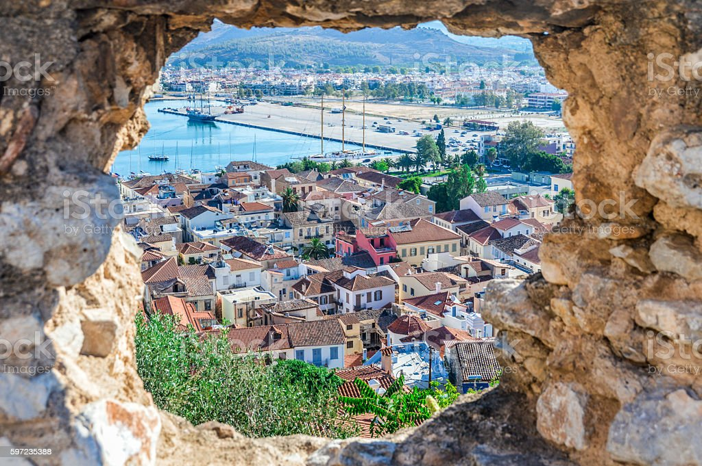 Old town of Naflio, Greece through stone window royalty-free stock photo