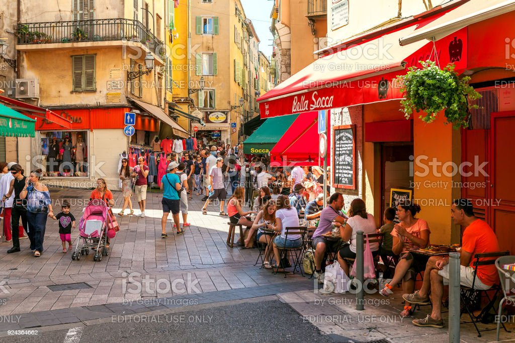 Old town of Nice, France. stock photo