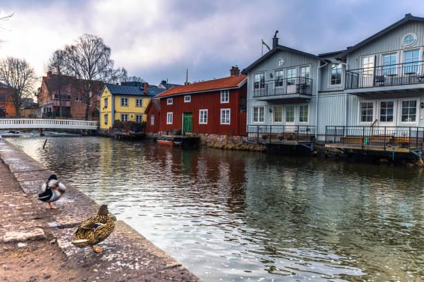 Norrtalje Schweden - 1. April 2017: Altstadt von Norrtalje, Schweden – Foto