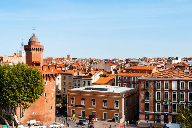 old town of Perpignan, in France stock photo