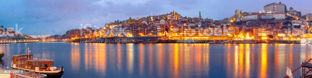 Old town of Porto during blue hour, Portugal stock photo