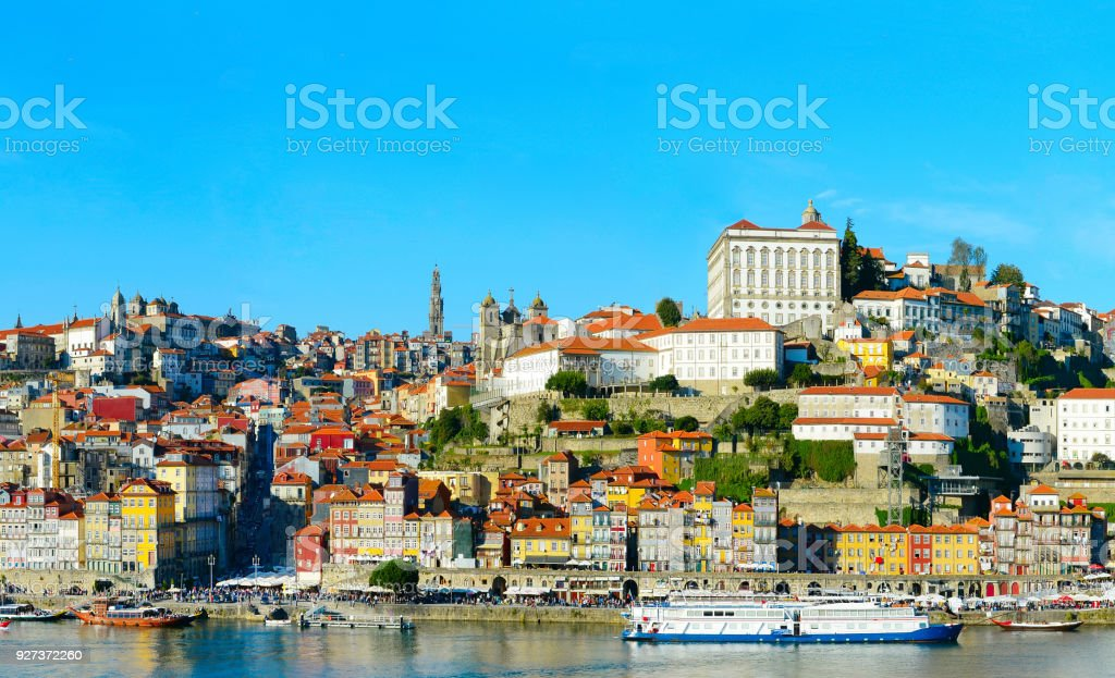 Old Town of Porto, Portugal Old Town of Porto and boats on Douro river. Portugal Ancient Stock Photo